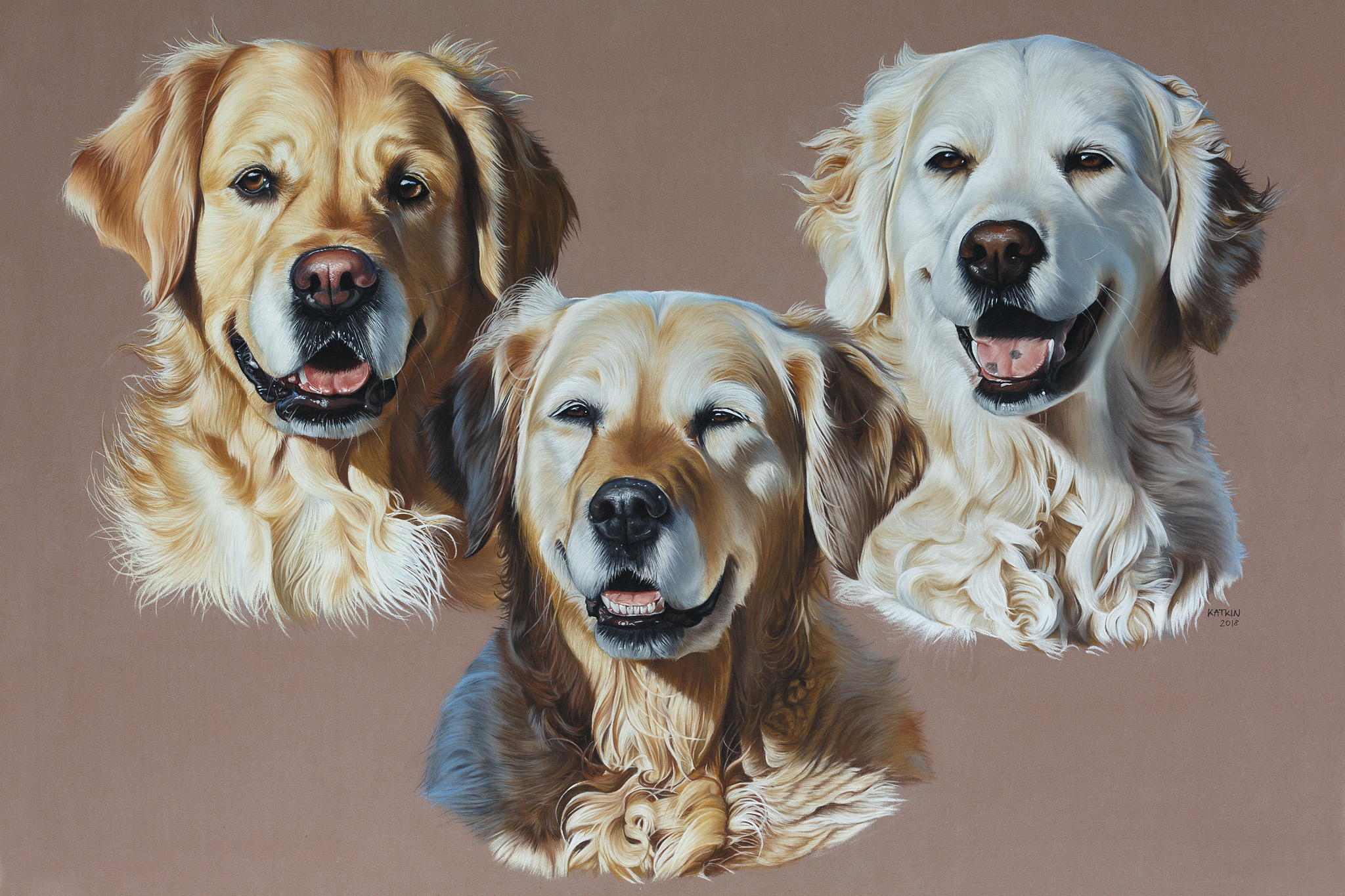 3 Retriever-Damen, 70x50 cm
